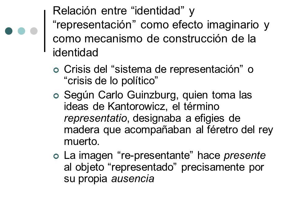 Relación entre identidad y representación como efecto imaginario y como mecanismo de construcción de la identidad Crisis del sistema de representación