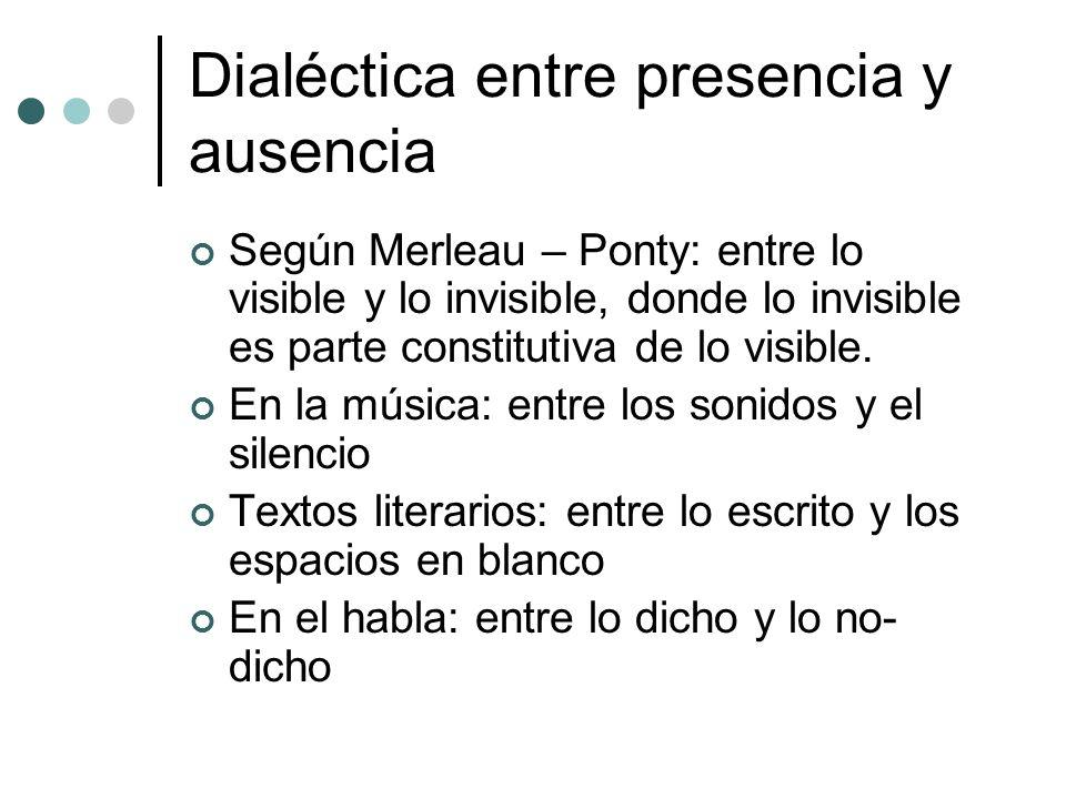 Dialéctica entre presencia y ausencia Según Merleau – Ponty: entre lo visible y lo invisible, donde lo invisible es parte constitutiva de lo visible.