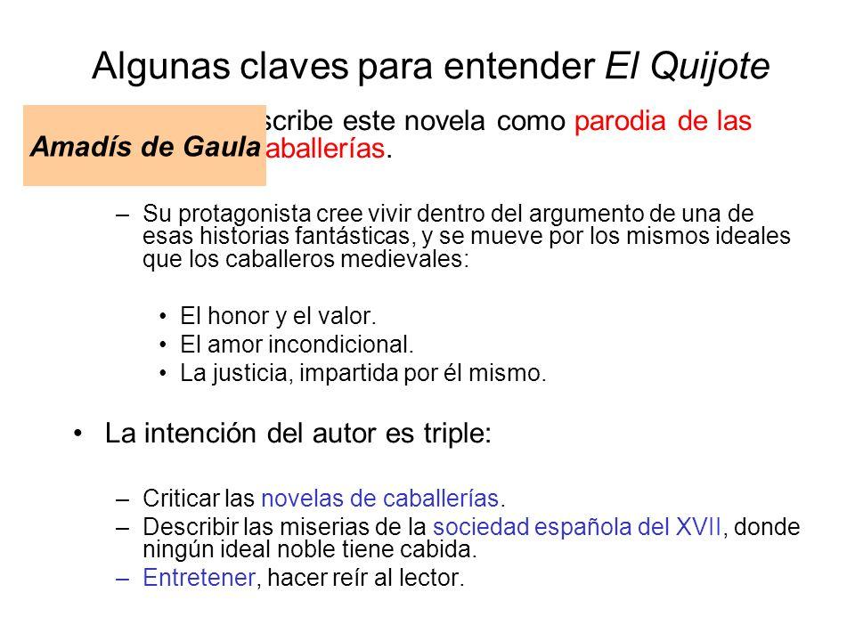 Algunas claves para entender El Quijote Cervantes escribe este novela como parodia de las novelas de caballerías. –Su protagonista cree vivir dentro d