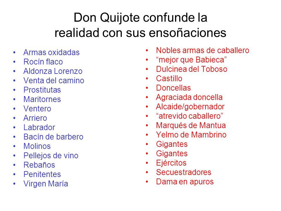 Don Quijote confunde la realidad con sus ensoñaciones Armas oxidadas Rocín flaco Aldonza Lorenzo Venta del camino Prostitutas Maritornes Ventero Arrie
