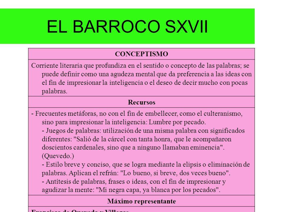 EL BARROCO SXVII CONCEPTISMO Corriente literaria que profundiza en el sentido o concepto de las palabras; se puede definir como una agudeza mental que