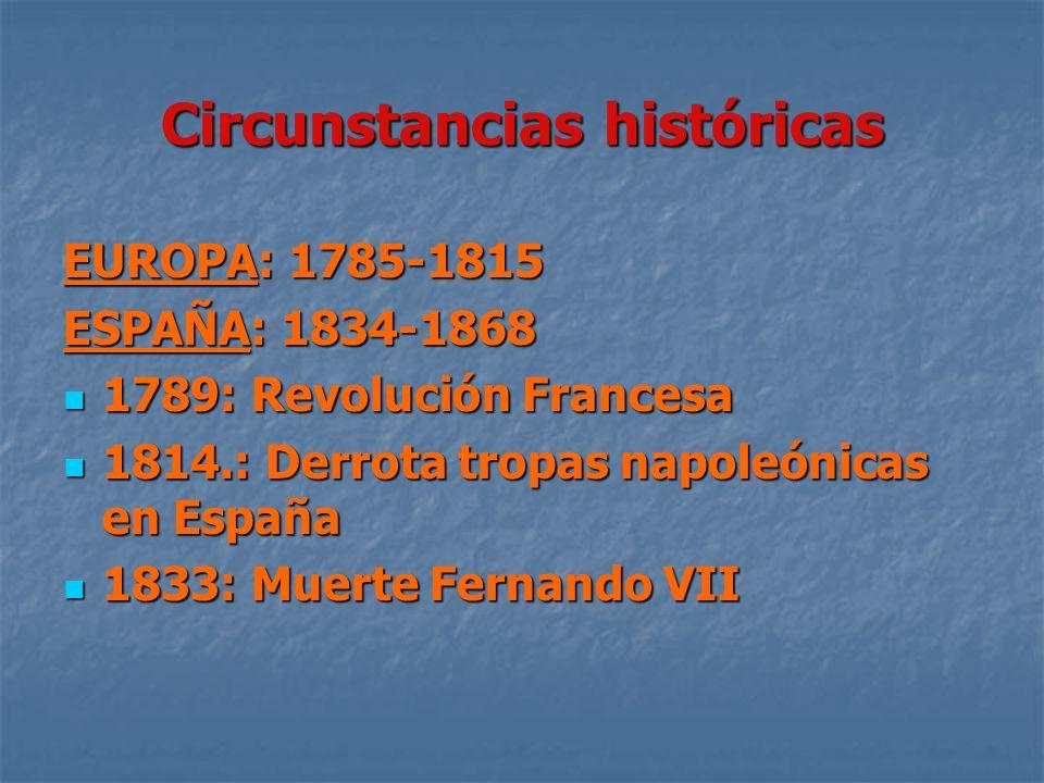 Circunstancias históricas EUROPA: 1785-1815 ESPAÑA: 1834-1868 1789: Revolución Francesa 1789: Revolución Francesa 1814.: Derrota tropas napoleónicas e
