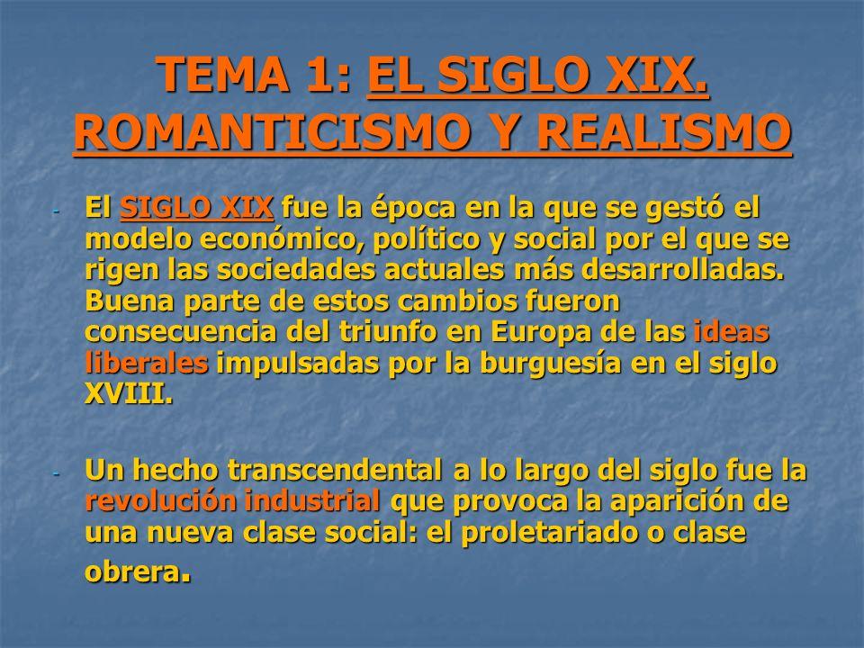 TEMA 1: EL SIGLO XIX. ROMANTICISMO Y REALISMO - El SIGLO XIX fue la época en la que se gestó el modelo económico, político y social por el que se rige