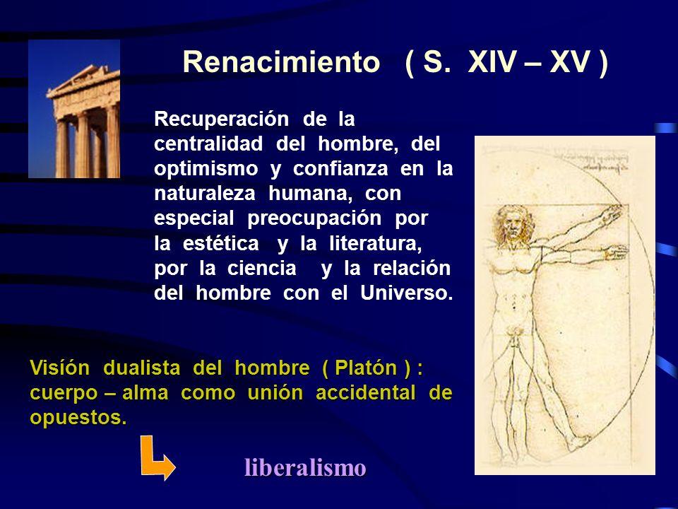 Renacimiento ( S. XIV – XV ) Recuperación de la centralidad del hombre, del optimismo y confianza en la naturaleza humana, con especial preocupación p