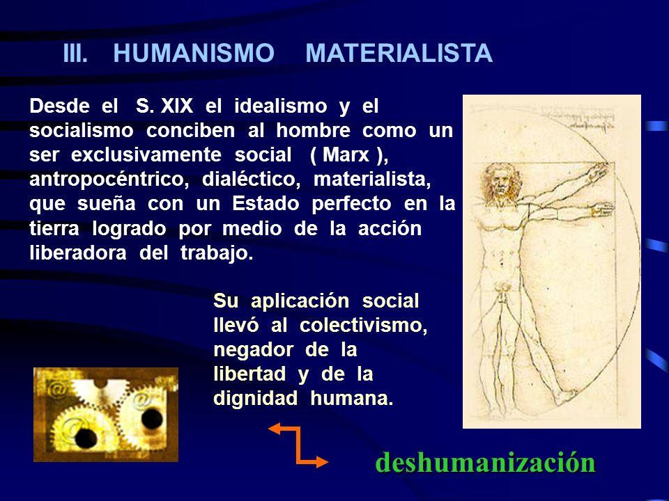 III. HUMANISMO MATERIALISTA Desde el S. XIX el idealismo y el socialismo conciben al hombre como un ser exclusivamente social ( Marx ), antropocéntric