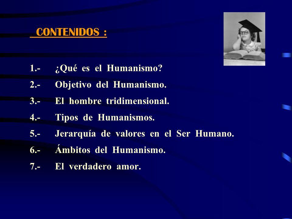 CONTENIDOS : 1.- ¿Qué es el Humanismo? 2.- Objetivo del Humanismo. 3.- El hombre tridimensional. 4.- Tipos de Humanismos. 5.- Jerarquía de valores en