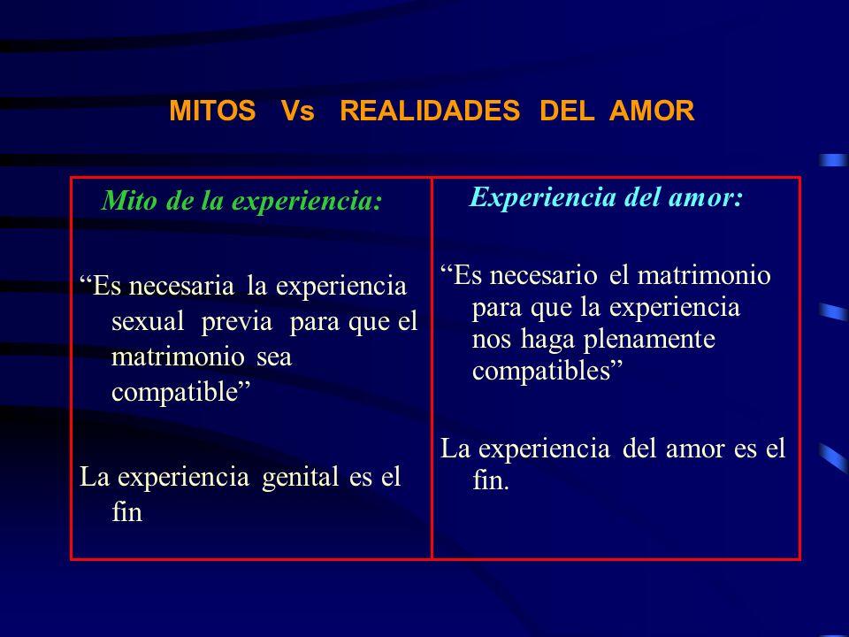 MITOS Vs REALIDADES DEL AMOR Mito de la experiencia: Es necesaria la experiencia sexual previa para que el matrimonio sea compatible La experiencia ge