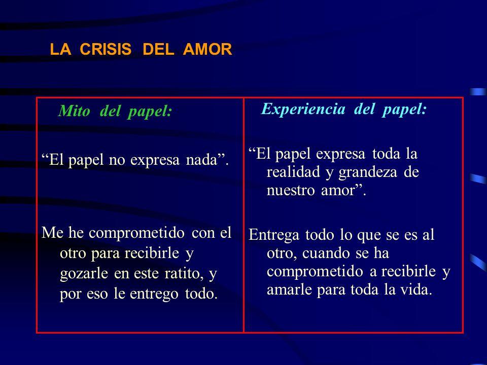 LA CRISIS DEL AMOR Mito del papel: El papel no expresa nada. Me he comprometido con el otro para recibirle y gozarle en este ratito, y por eso le entr