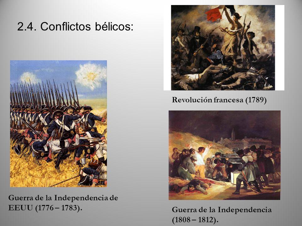 2.4. Conflictos bélicos: Revolución francesa (1789) Guerra de la Independencia (1808 – 1812). Guerra de la Independencia de EEUU (1776 – 1783).