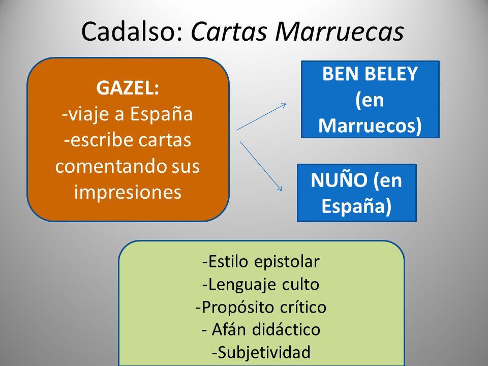 Cadalso: Cartas Marruecas NUÑO (en España) BEN BELEY (en Marruecos) GAZEL: -viaje a España -escribe cartas comentando sus impresiones -Estilo epistola