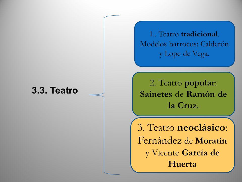 3.3. Teatro 1.. Teatro tradicional. Modelos barrocos: Calderón y Lope de Vega. 3. Teatro neoclásico: Fernández de Moratín y Vicente García de Huerta 2