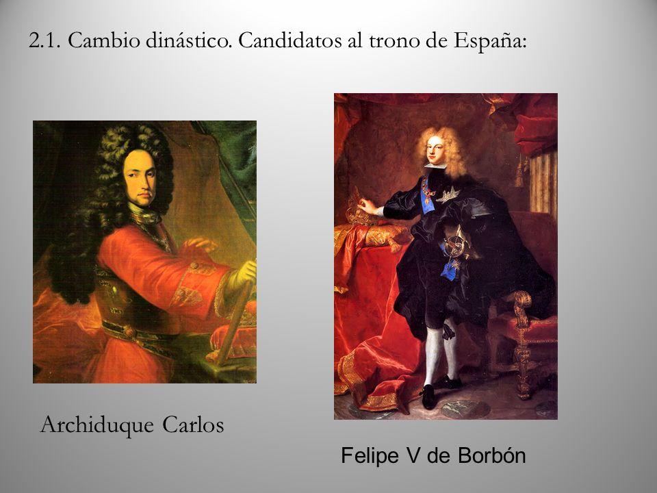 Archiduque Carlos Felipe V de Borbón 2.1. Cambio dinástico. Candidatos al trono de España: