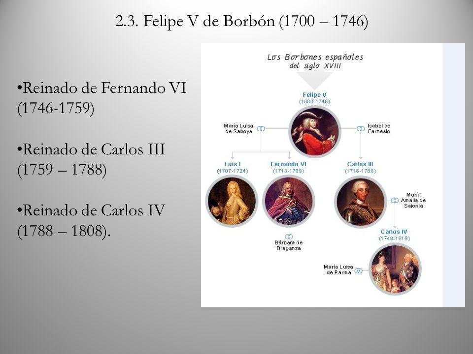 2.3. Felipe V de Borbón (1700 – 1746) Reinado de Fernando VI (1746-1759) Reinado de Carlos III (1759 – 1788) Reinado de Carlos IV (1788 – 1808).