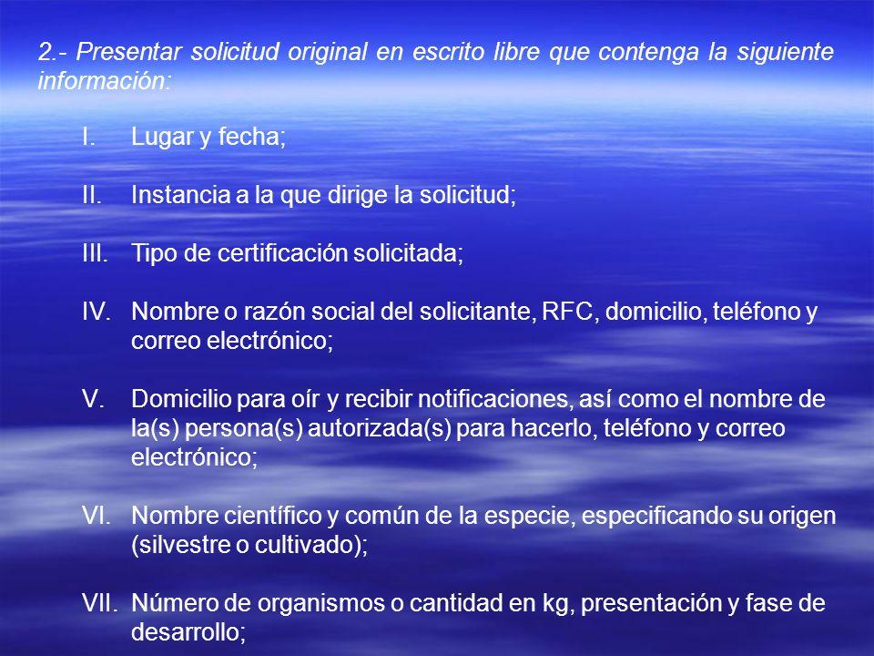 2.- Presentar solicitud original en escrito libre que contenga la siguiente información: I.Lugar y fecha; II.Instancia a la que dirige la solicitud; I