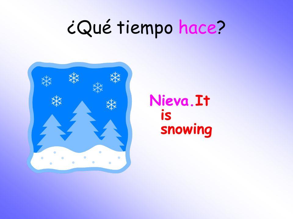 ¿Qué tiempo hace? Nieva.It is snowing