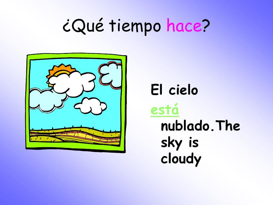 ¿Qué tiempo hace? El cielo está nublado.The sky is cloudy