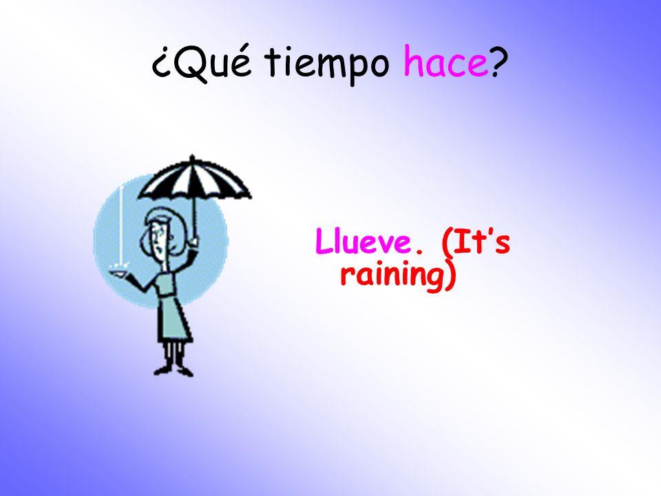 ¿Qué tiempo hace? Llueve. (Its raining)