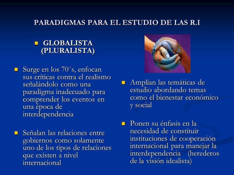 PARADIGMAS PARA EL ESTUDIO DE LAS R.I GLOBALISTA (PLURALISTA) GLOBALISTA (PLURALISTA) Surge en los 70´s, enfocan sus críticas contra el realismo señal