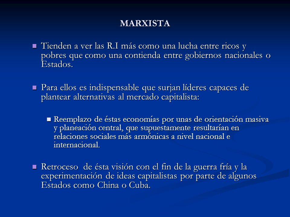 MARXISTA Tienden a ver las R.I más como una lucha entre ricos y pobres que como una contienda entre gobiernos nacionales o Estados. Tienden a ver las