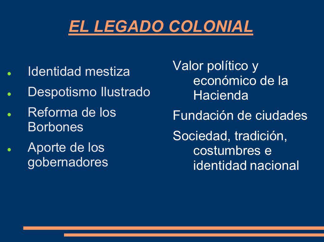 EL LEGADO COLONIAL Identidad mestiza Despotismo Ilustrado Reforma de los Borbones Aporte de los gobernadores Valor político y económico de la Hacienda