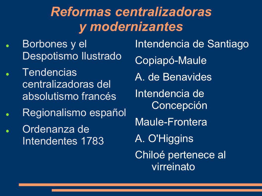 Reformas centralizadoras y modernizantes Borbones y el Despotismo Ilustrado Tendencias centralizadoras del absolutismo francés Regionalismo español Or