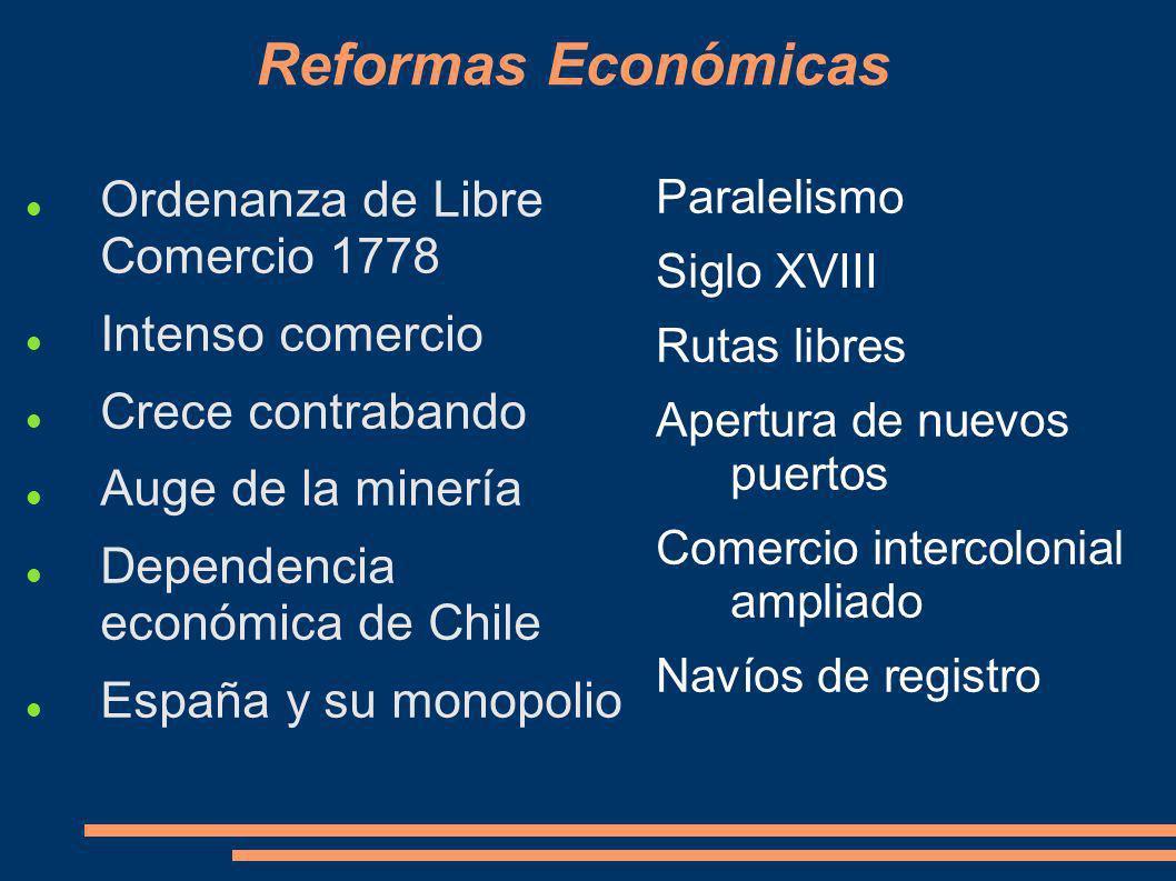 Reformas Económicas Ordenanza de Libre Comercio 1778 Intenso comercio Crece contrabando Auge de la minería Dependencia económica de Chile España y su