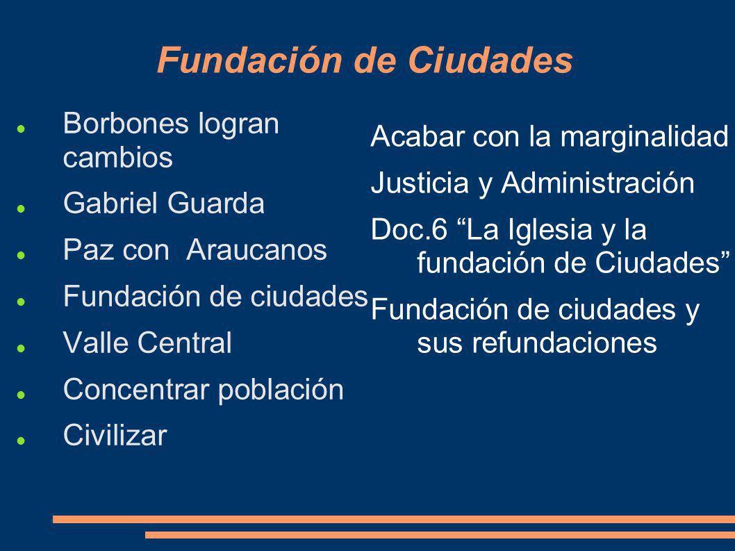 Fundación de Ciudades Borbones logran cambios Gabriel Guarda Paz con Araucanos Fundación de ciudades Valle Central Concentrar población Civilizar Acab