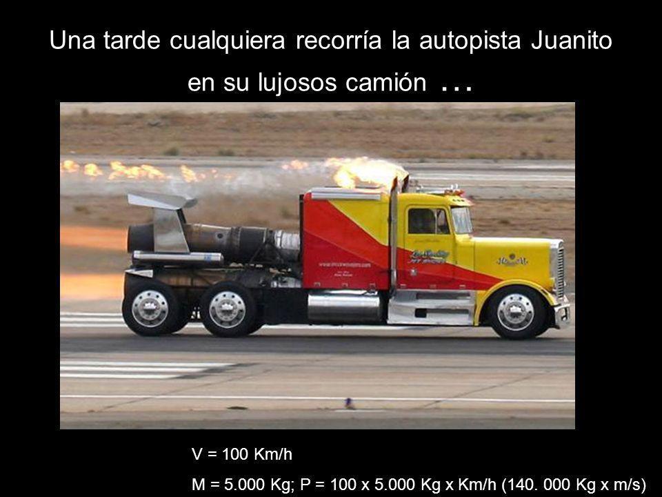 Una tarde cualquiera recorría la autopista Juanito en su lujosos camión … V = 100 Km/h M = 5.000 Kg; P = 100 x 5.000 Kg x Km/h (140. 000 Kg x m/s)