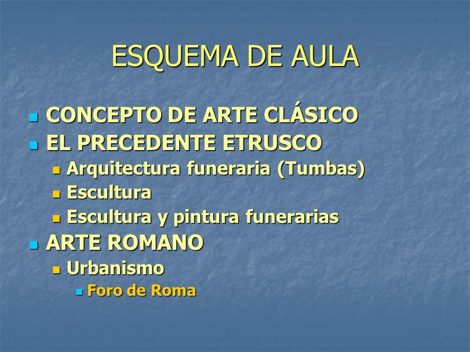 ESQUEMA DE AULA CONCEPTO DE ARTE CLÁSICO CONCEPTO DE ARTE CLÁSICO EL PRECEDENTE ETRUSCO EL PRECEDENTE ETRUSCO Arquitectura funeraria (Tumbas) Arquitec