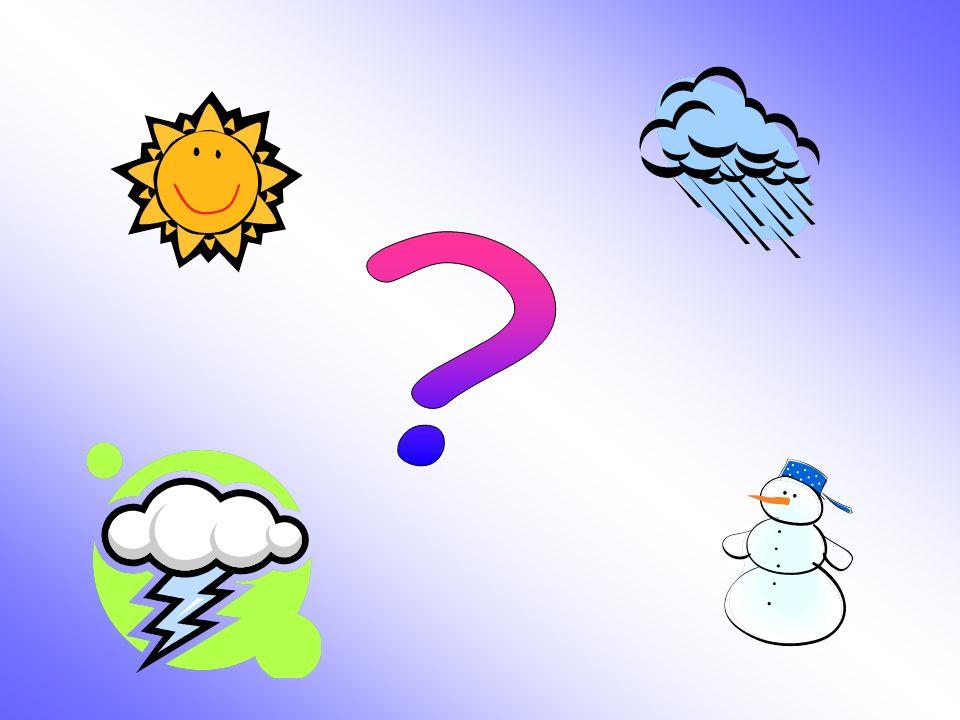 1.Hace sol 2.Hace viento 3.Hace buen tiempo 4.Hace mal tiempo 5.Hace calor 6.Hace frío 7.Llueve 8.Nieva 9.Hay niebla 10.Hay tormenta 11.El cielo está despejado 12.El cielo está nublado a.It´s stormy b.It´s sunny c.It´s hot d.It´s bad weather e.The sky is cloudy f.It´s raining g.It´s snowing h.It´s foggy i.It´s windy j.The sky is clear k.It´s cold l.It´s nice weather