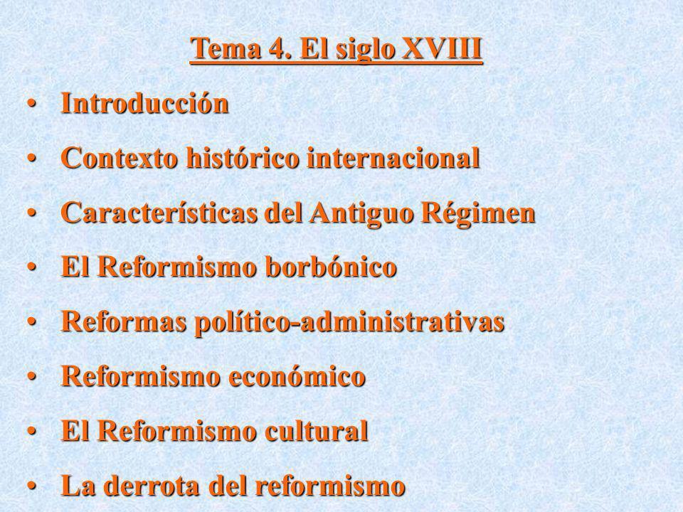 Tema 4. El siglo XVIII IntroducciónIntroducción Contexto histórico internacionalContexto histórico internacional Características del Antiguo RégimenCa