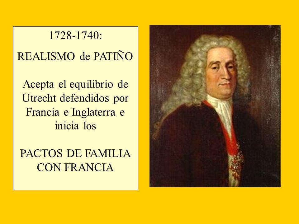 1728-1740: REALISMO de PATIÑO Acepta el equilibrio de Utrecht defendidos por Francia e Inglaterra e inicia los PACTOS DE FAMILIA CON FRANCIA