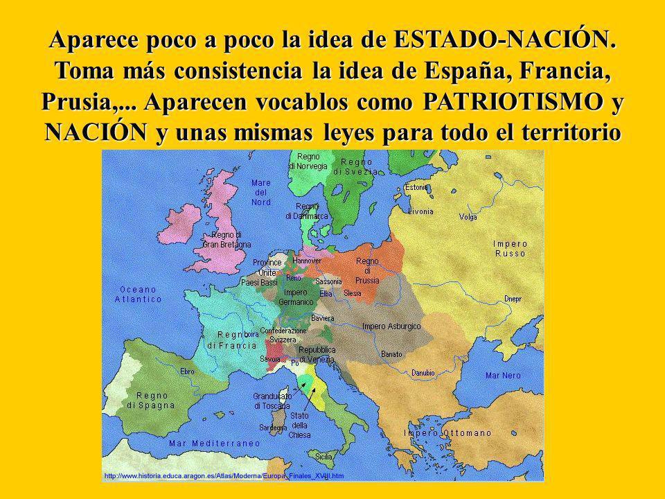 Aparece poco a poco la idea de ESTADO-NACIÓN. Toma más consistencia la idea de España, Francia, Prusia,... Aparecen vocablos como PATRIOTISMO y NACIÓN