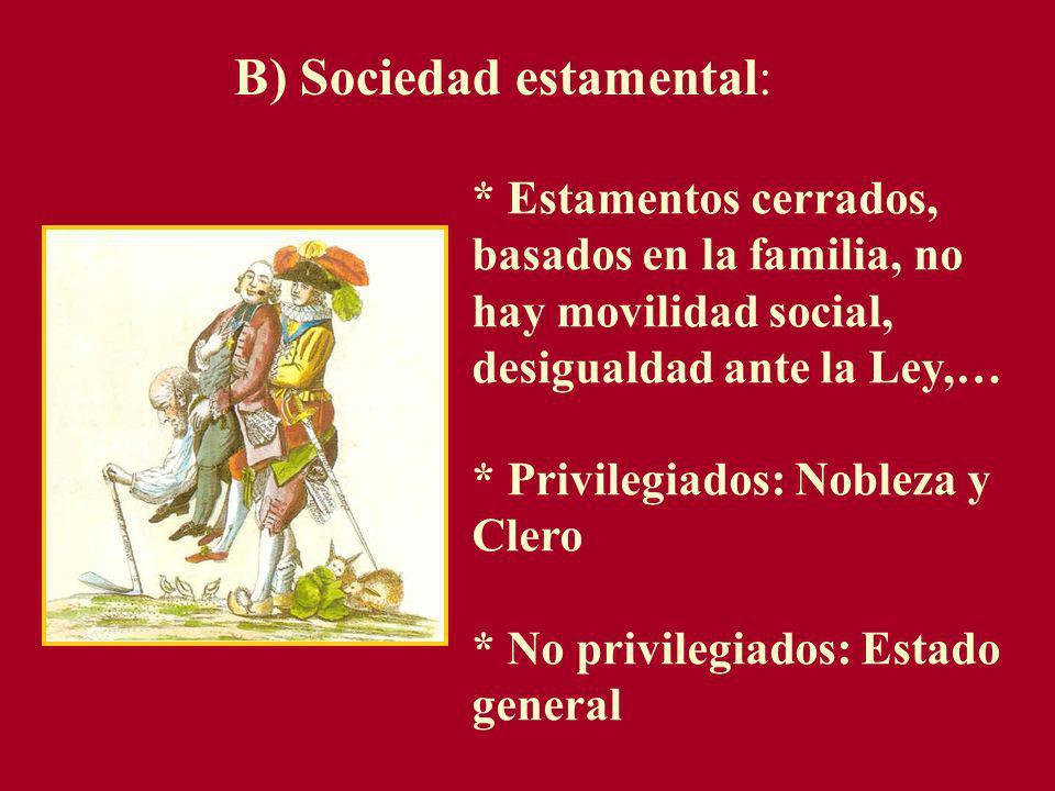 B) Sociedad estamental: * Estamentos cerrados, basados en la familia, no hay movilidad social, desigualdad ante la Ley,… * Privilegiados: Nobleza y Cl