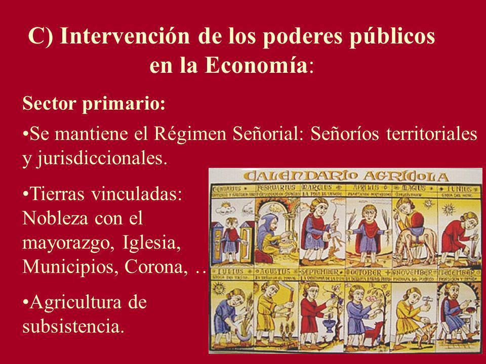 C) Intervención de los poderes públicos en la Economía: Sector primario: Se mantiene el Régimen Señorial: Señoríos territoriales y jurisdiccionales. T