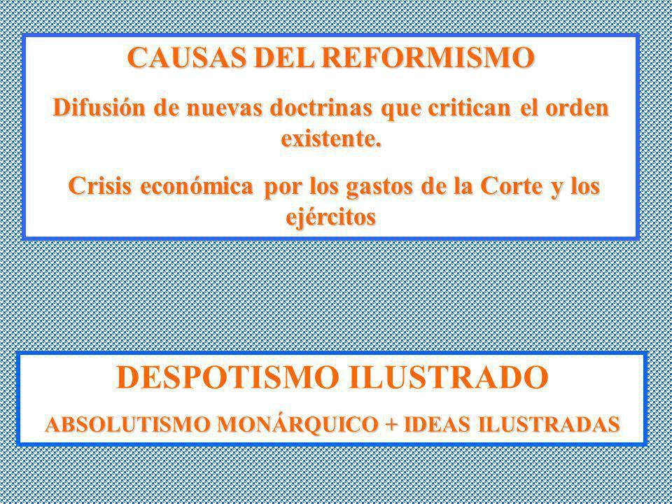 CAUSAS DEL REFORMISMO Difusión de nuevas doctrinas que critican el orden existente. Crisis económica por los gastos de la Corte y los ejércitos Crisis