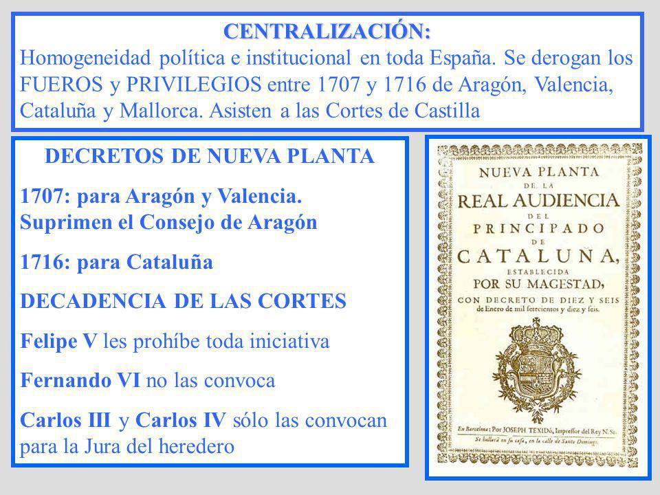 DECRETOS DE NUEVA PLANTA 1707: para Aragón y Valencia. Suprimen el Consejo de Aragón 1716: para Cataluña DECADENCIA DE LAS CORTES Felipe V les prohíbe