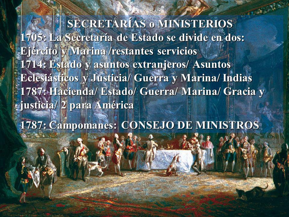 SECRETARÍAS o MINISTERIOS 1705: La Secretaría de Estado se divide en dos: Ejército y Marina /restantes servicios 1714: Estado y asuntos extranjeros/ A