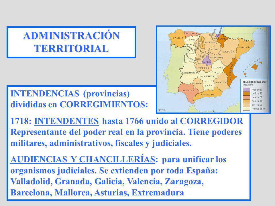 ADMINISTRACIÓN TERRITORIAL INTENDENCIAS (provincias) divididas en CORREGIMIENTOS: 1718: INTENDENTES hasta 1766 unido al CORREGIDOR Representante del p