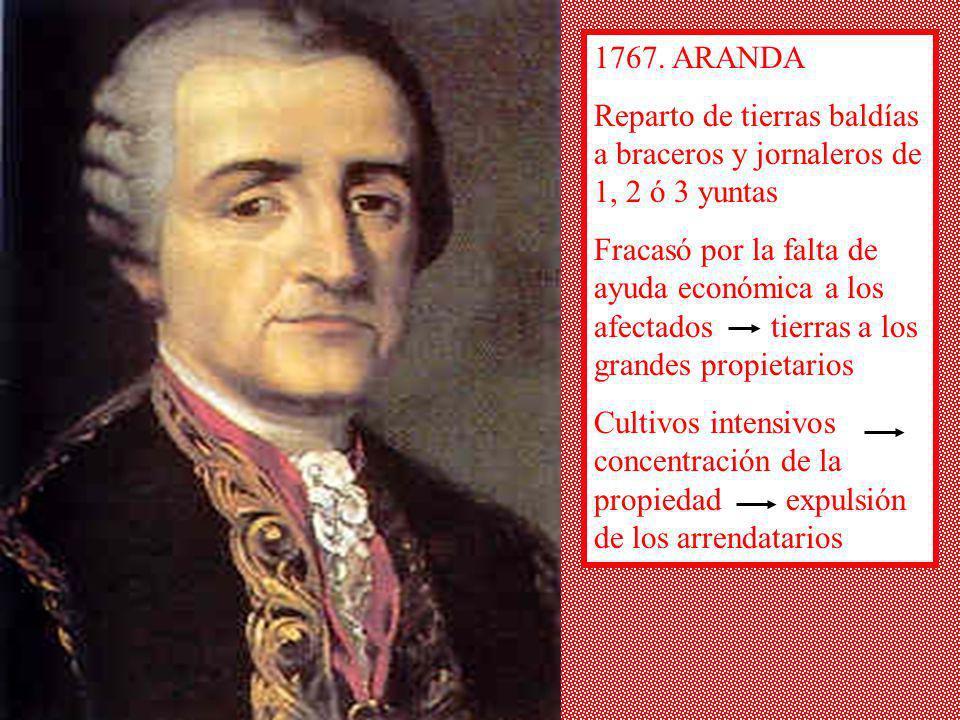 1767. ARANDA Reparto de tierras baldías a braceros y jornaleros de 1, 2 ó 3 yuntas Fracasó por la falta de ayuda económica a los afectados tierras a l
