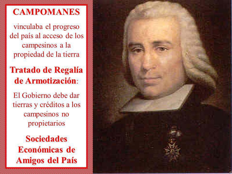 CAMPOMANES vinculaba el progreso del país al acceso de los campesinos a la propiedad de la tierra Tratado de Regalía de Armotización Tratado de Regalí