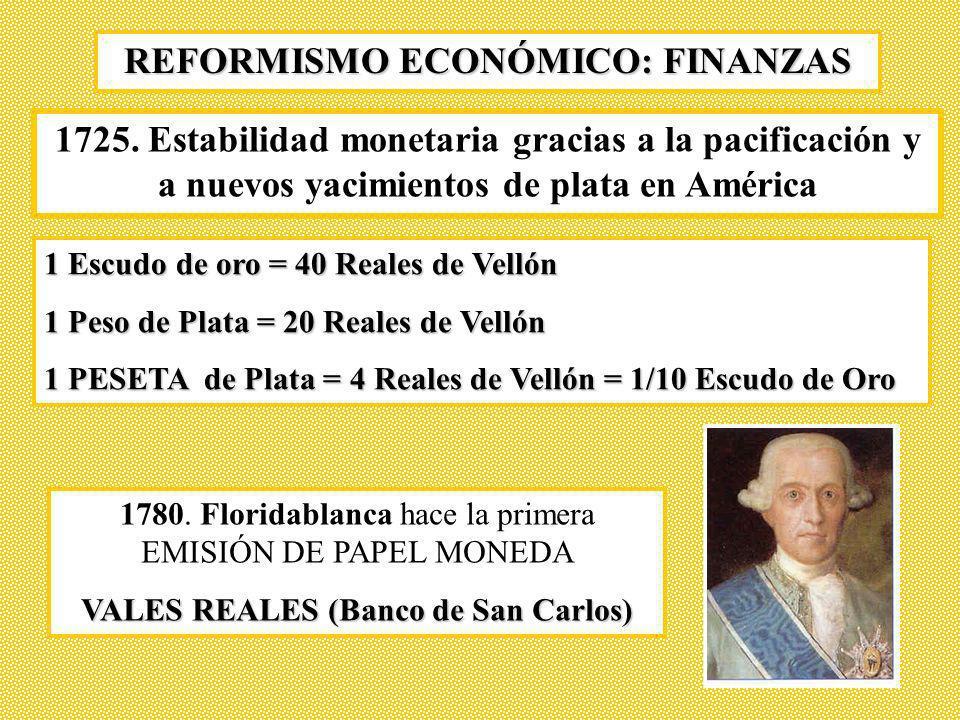 REFORMISMO ECONÓMICO: FINANZAS 1780. Floridablanca hace la primera EMISIÓN DE PAPEL MONEDA VALES REALES (Banco de San Carlos) 1 Escudo de oro = 40 Rea