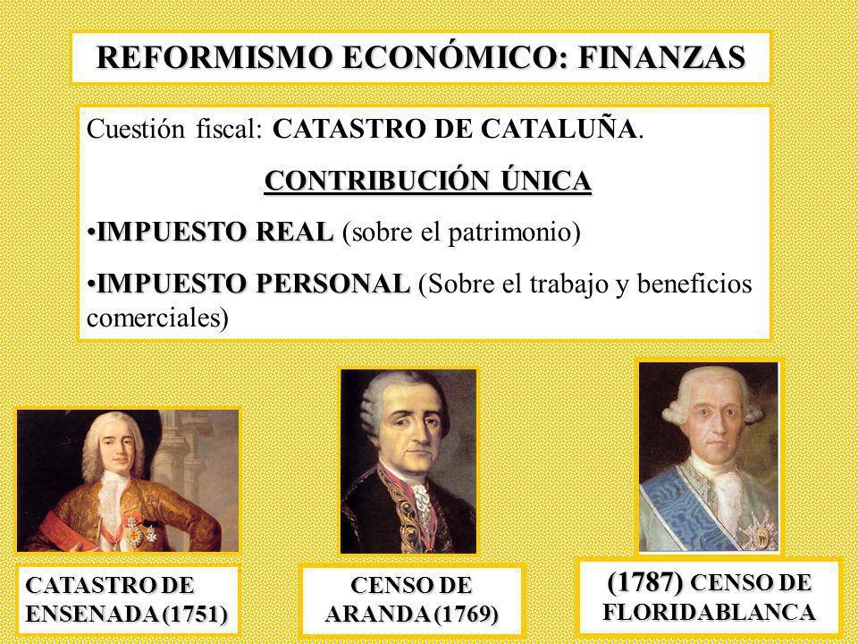 REFORMISMO ECONÓMICO: FINANZAS Cuestión fiscal: CATASTRO DE CATALUÑA. CONTRIBUCIÓN ÚNICA IMPUESTO REALIMPUESTO REAL (sobre el patrimonio) IMPUESTO PER