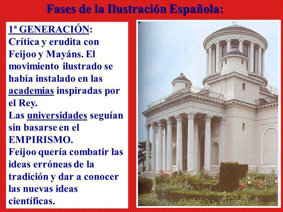 1ª GENERACIÓN: Crítica y erudita con Feijoo y Mayáns. El movimiento ilustrado se había instalado en las academias inspiradas por el Rey. Las universid