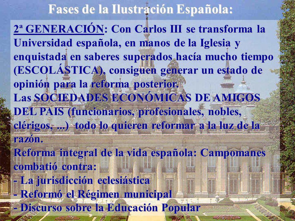 2ª GENERACIÓN: Con Carlos III se transforma la Universidad española, en manos de la Iglesia y enquistada en saberes superados hacía mucho tiempo (ESCO