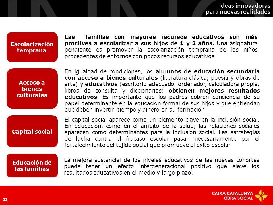 Ideas innovadoras para nuevas realidades 21 Escolarización temprana Acceso a bienes culturales Capital social El capital social aparece como un elemen