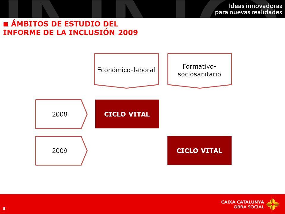 Ideas innovadoras para nuevas realidades 3 CICLO VITAL 2008 2009 Económico-laboral Formativo- sociosanitario ÁMBITOS DE ESTUDIO DEL INFORME DE LA INCL