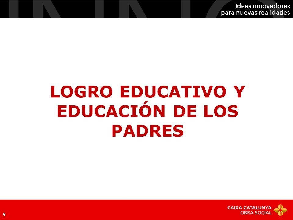 Ideas innovadoras para nuevas realidades 6 LOGRO EDUCATIVO Y EDUCACIÓN DE LOS PADRES