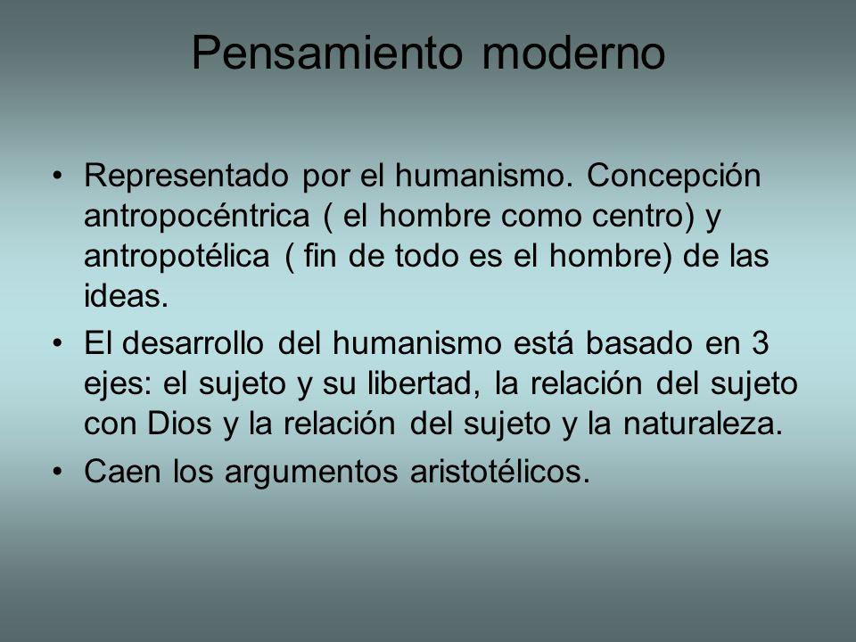 Pensamiento moderno Representado por el humanismo. Concepción antropocéntrica ( el hombre como centro) y antropotélica ( fin de todo es el hombre) de
