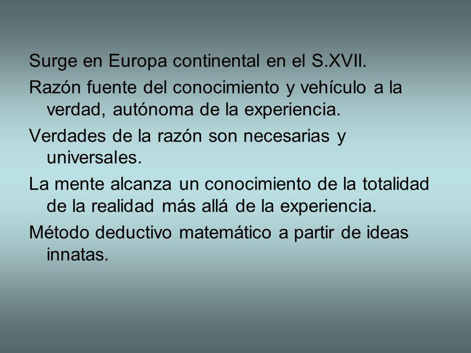 Surge en Europa continental en el S.XVII. Razón fuente del conocimiento y vehículo a la verdad, autónoma de la experiencia. Verdades de la razón son n